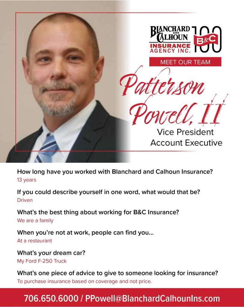 Meet Patterson Powell, Vice President and Account Executive at Blanchard and Calhoun Insurance.